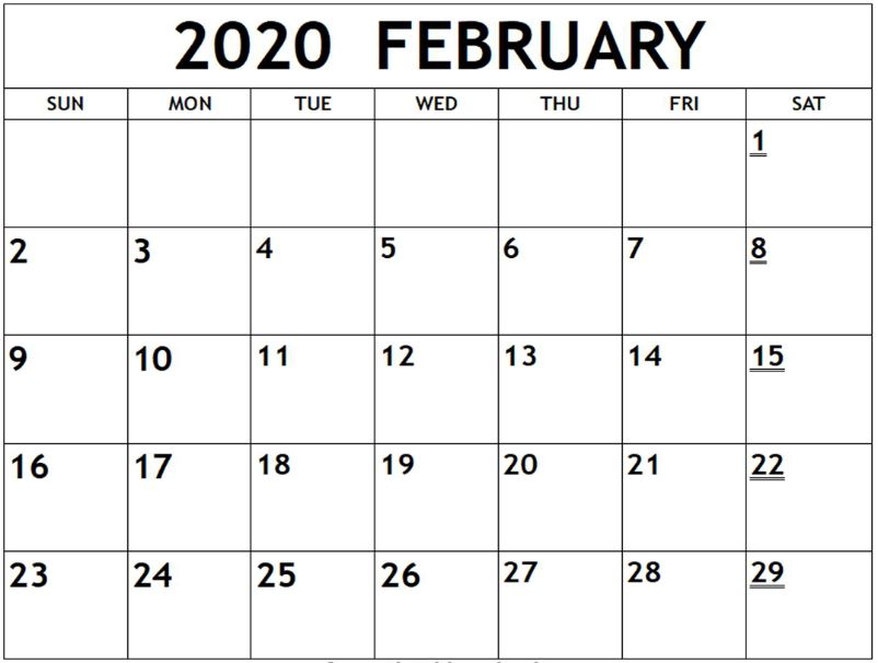 Blank February Calendar 2020 Printable Template