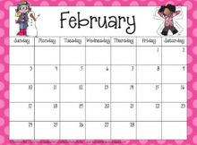 Cute 2020 February Wall Calendar