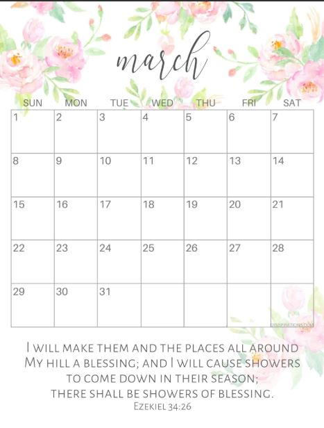 Cute March 2020 Calendar with Quotes