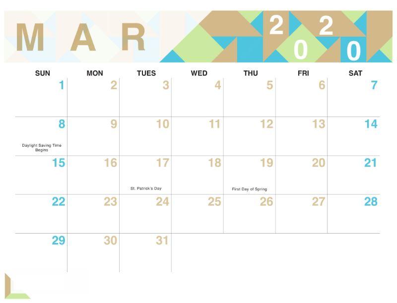 Cute March 2020 Calendar