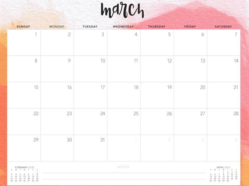 Editable March 2020 Cute Calendar