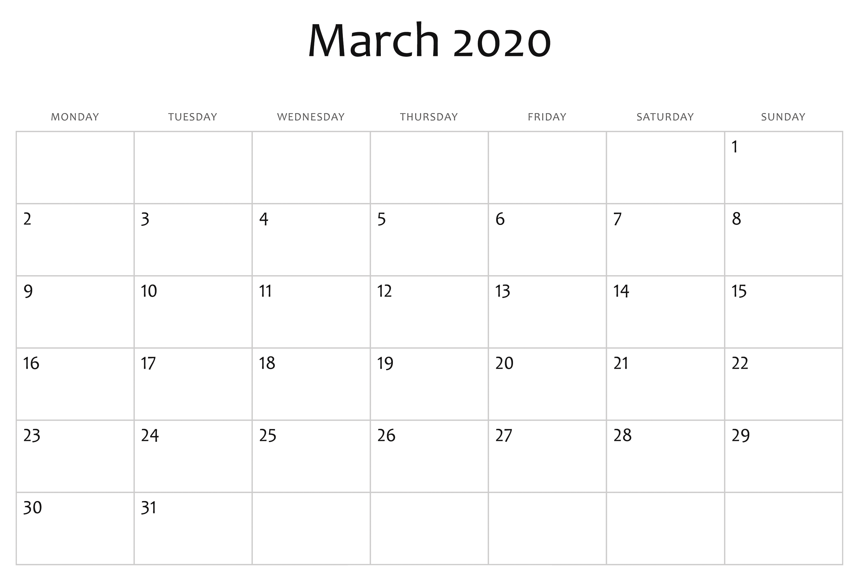 Editable March 2020 Printable Calendar Monthly Template