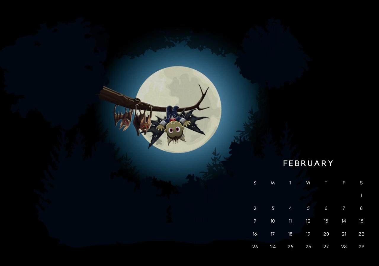 Feb 2020 Calendar Wallpaper for Desktop