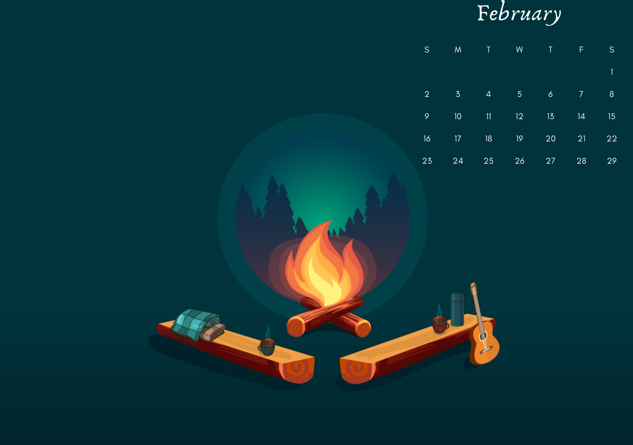 Feb 2020 PC Wallpaper Calendar