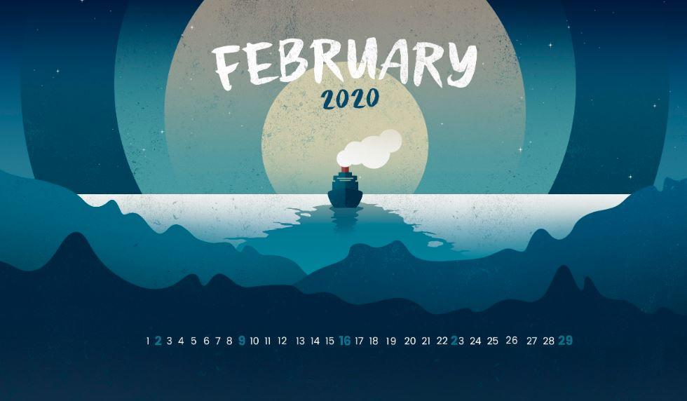 February 2020 Calendar HD Wallpaper