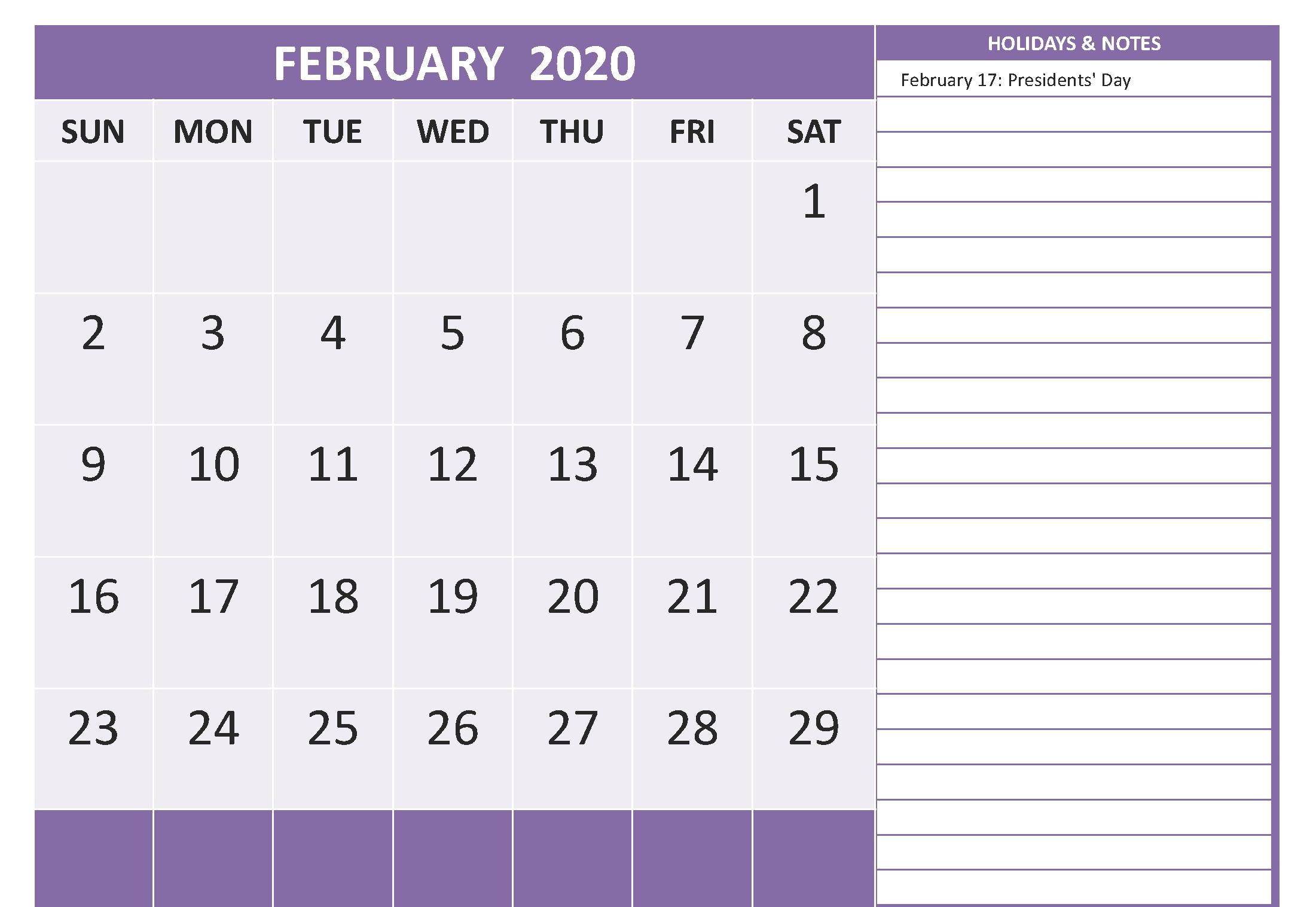 February 2020 Calendar Holidays with Notes