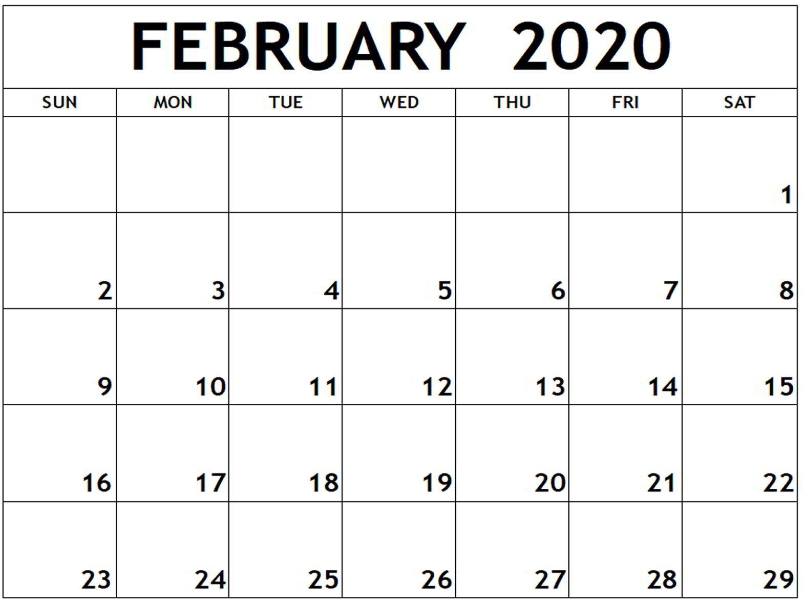 February Calendar 2020 Editable Template