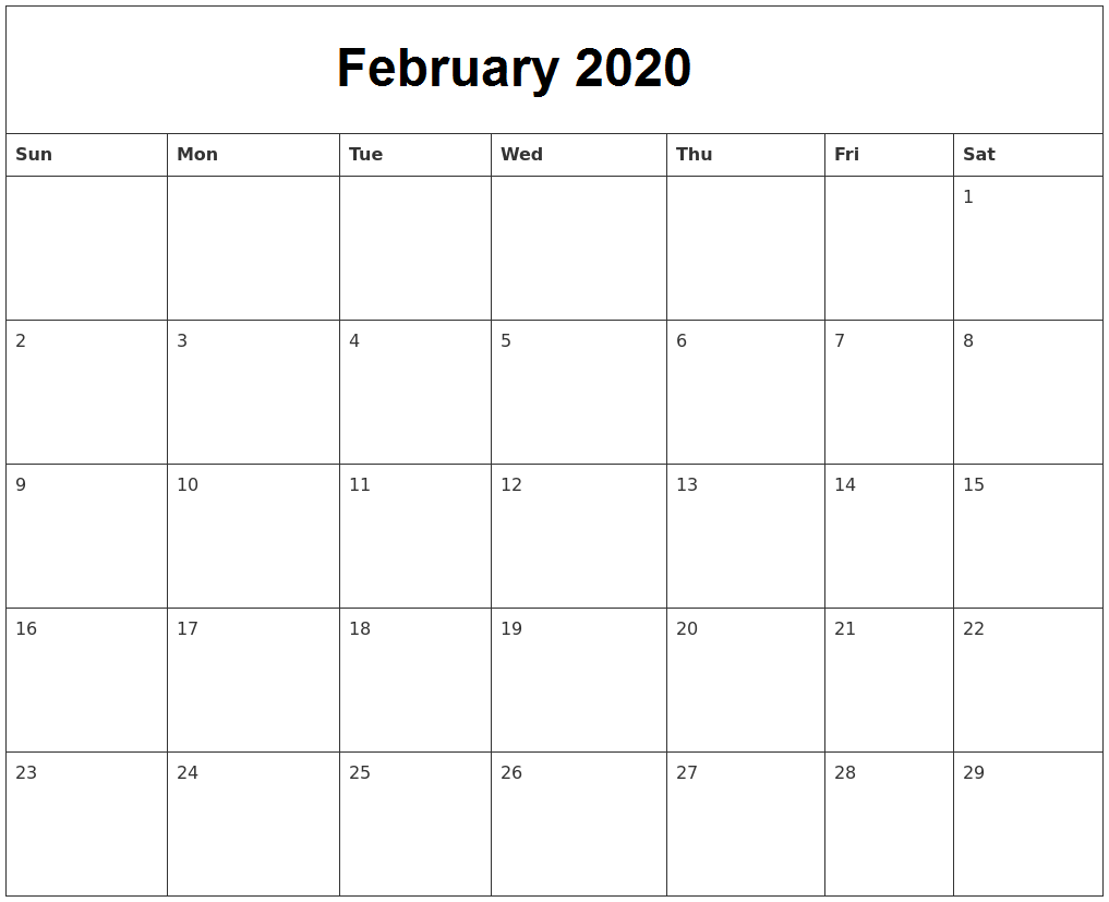 February Calendar 2020 Holidays UK