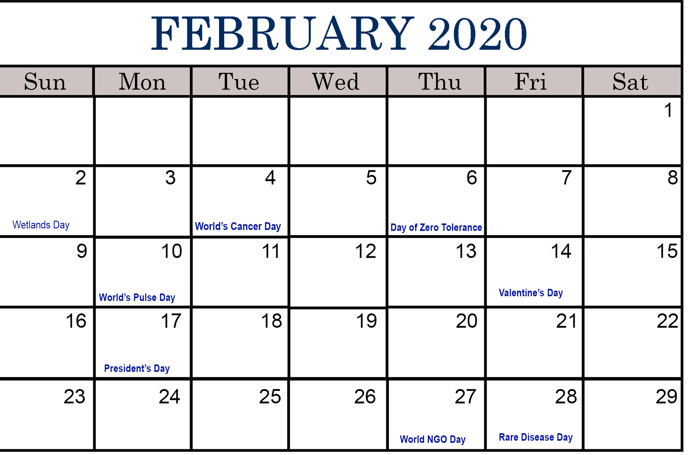 February Holidays Calendar 2020 Printable Templates