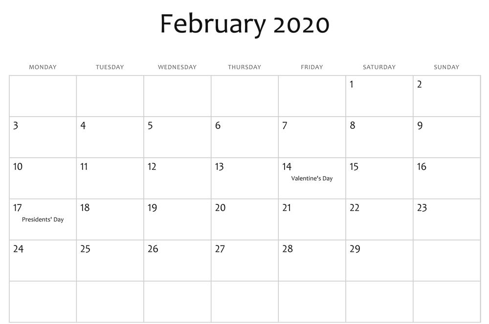 February Holidays Calendar 2020
