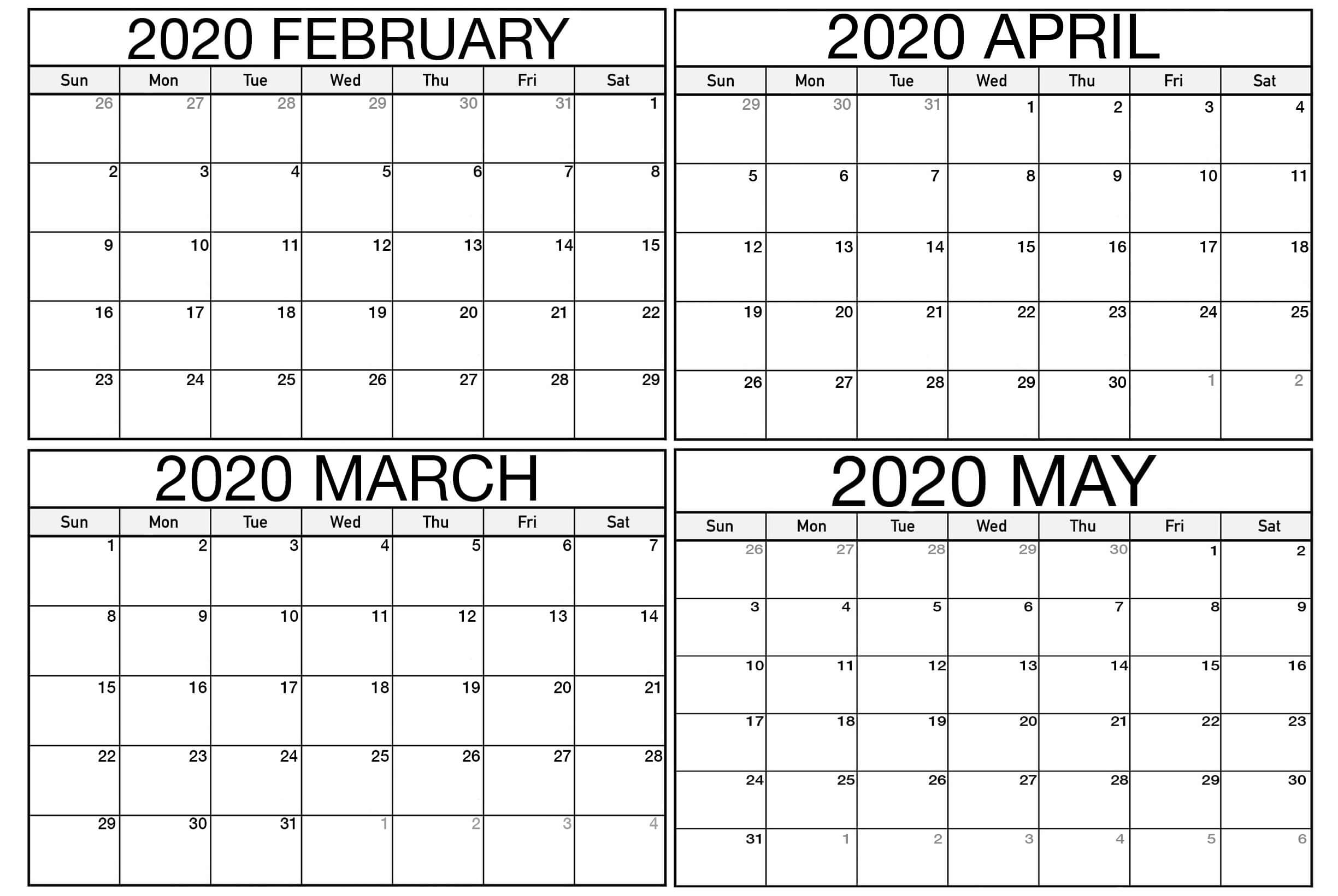 February To May 2020 Calendar
