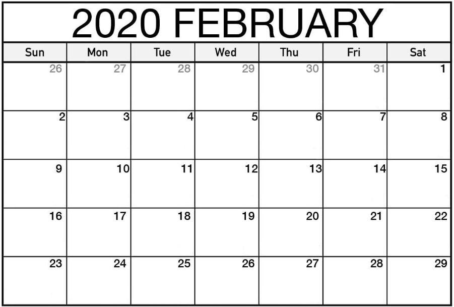 Free Blank February 2020 Calendar Template