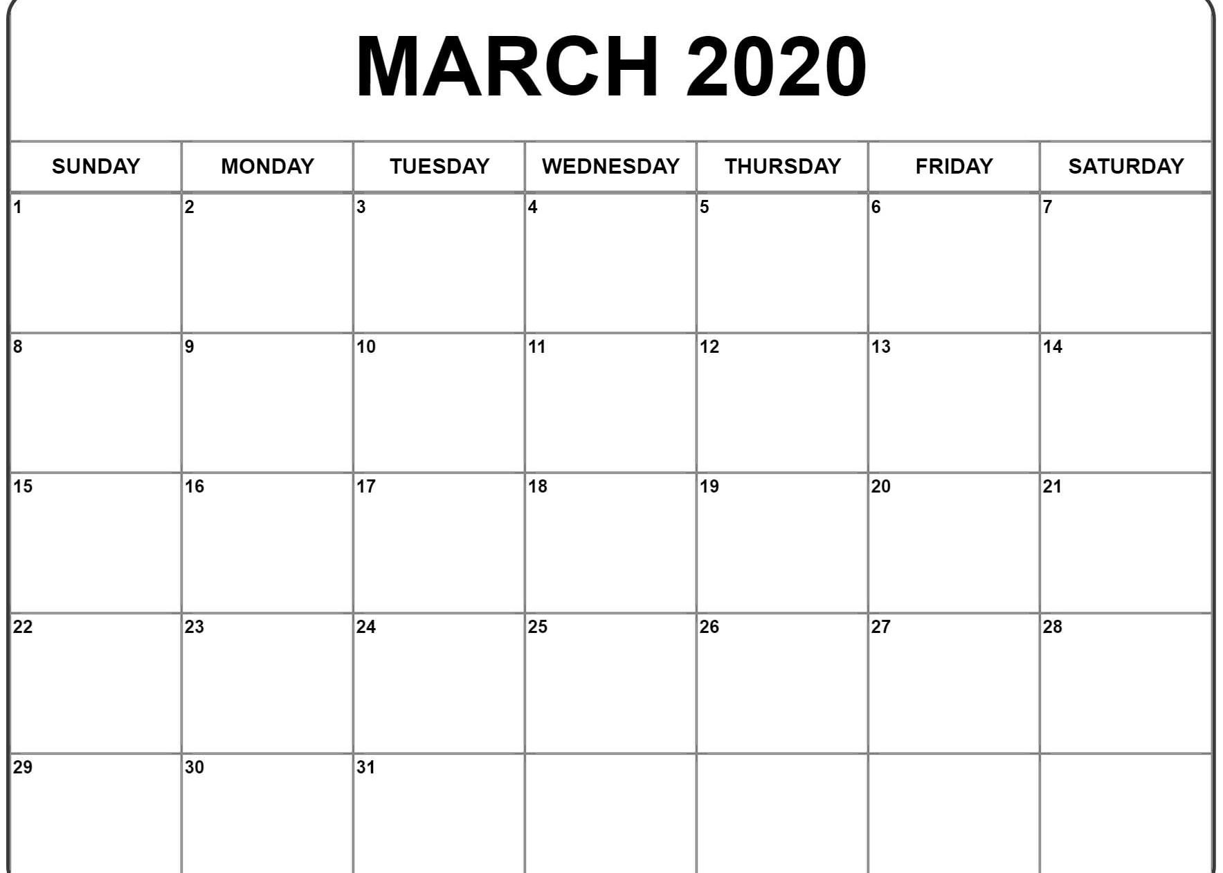 Free Editable March Moon Calendar 2020