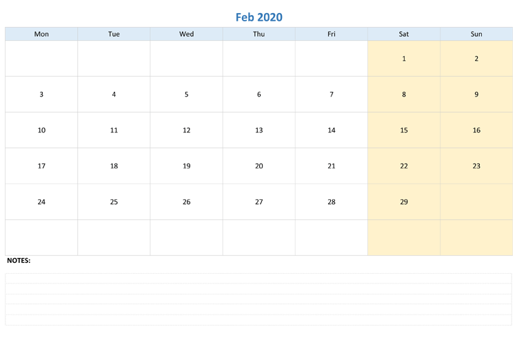 Free February 2020 Editable Calendar with Notes