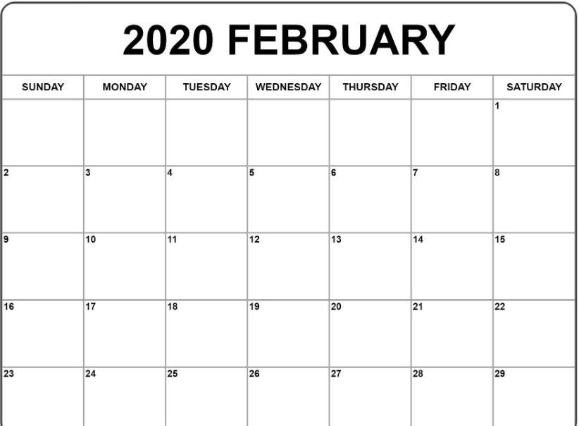 Free Printable Blank February 2020 Calendar