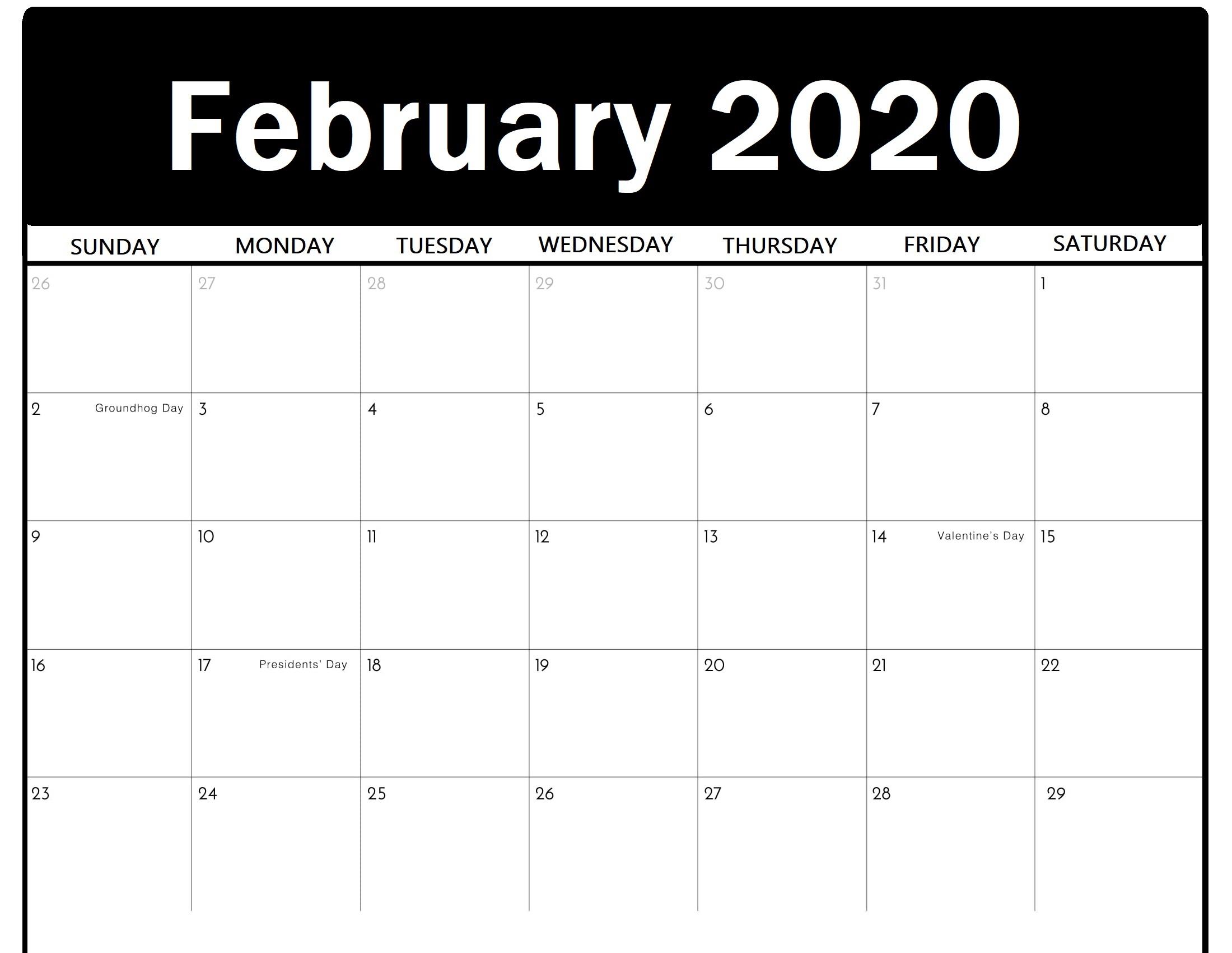 Free Printable February 2020 Calendar Editable Template