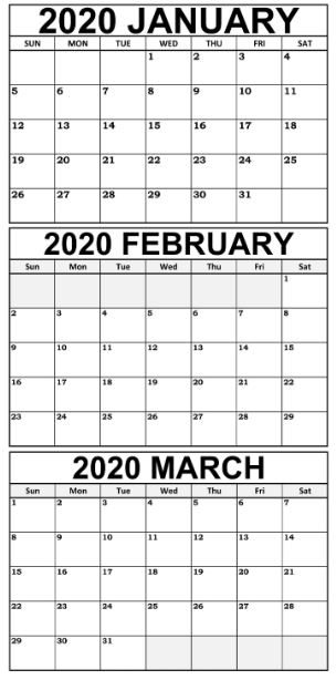 Free Printable January February March 2020 Calendar