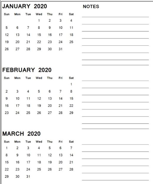 January February March 2020 Calendar With Notes