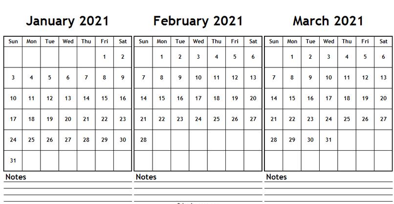 Free Printable 2021 January February March Calendar Template