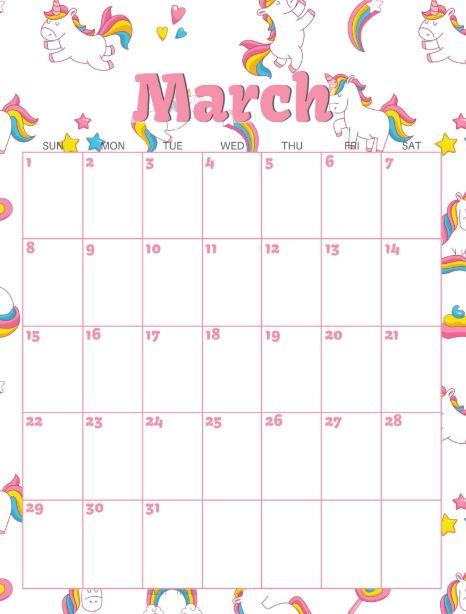 March 2020 Calendar Pink Design