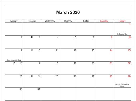March 2020 Calendar Printable with Bank Holidays UK
