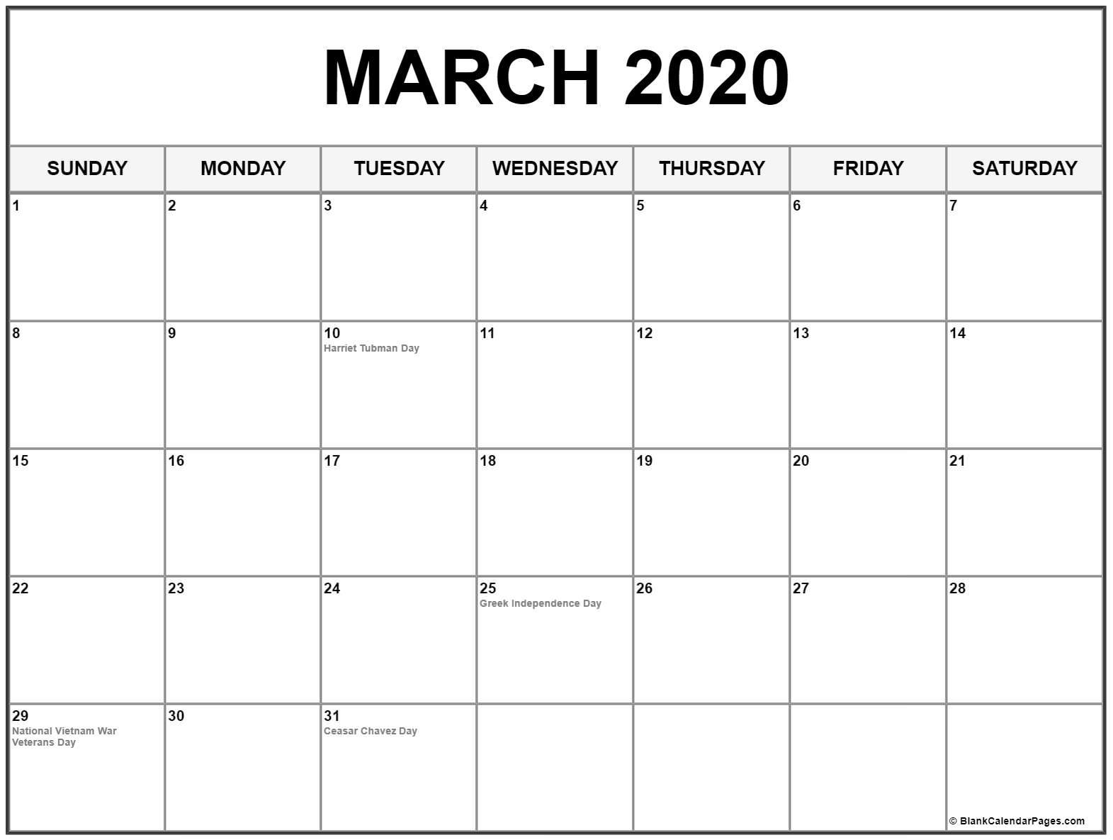 March 2020 calendar US Holidays