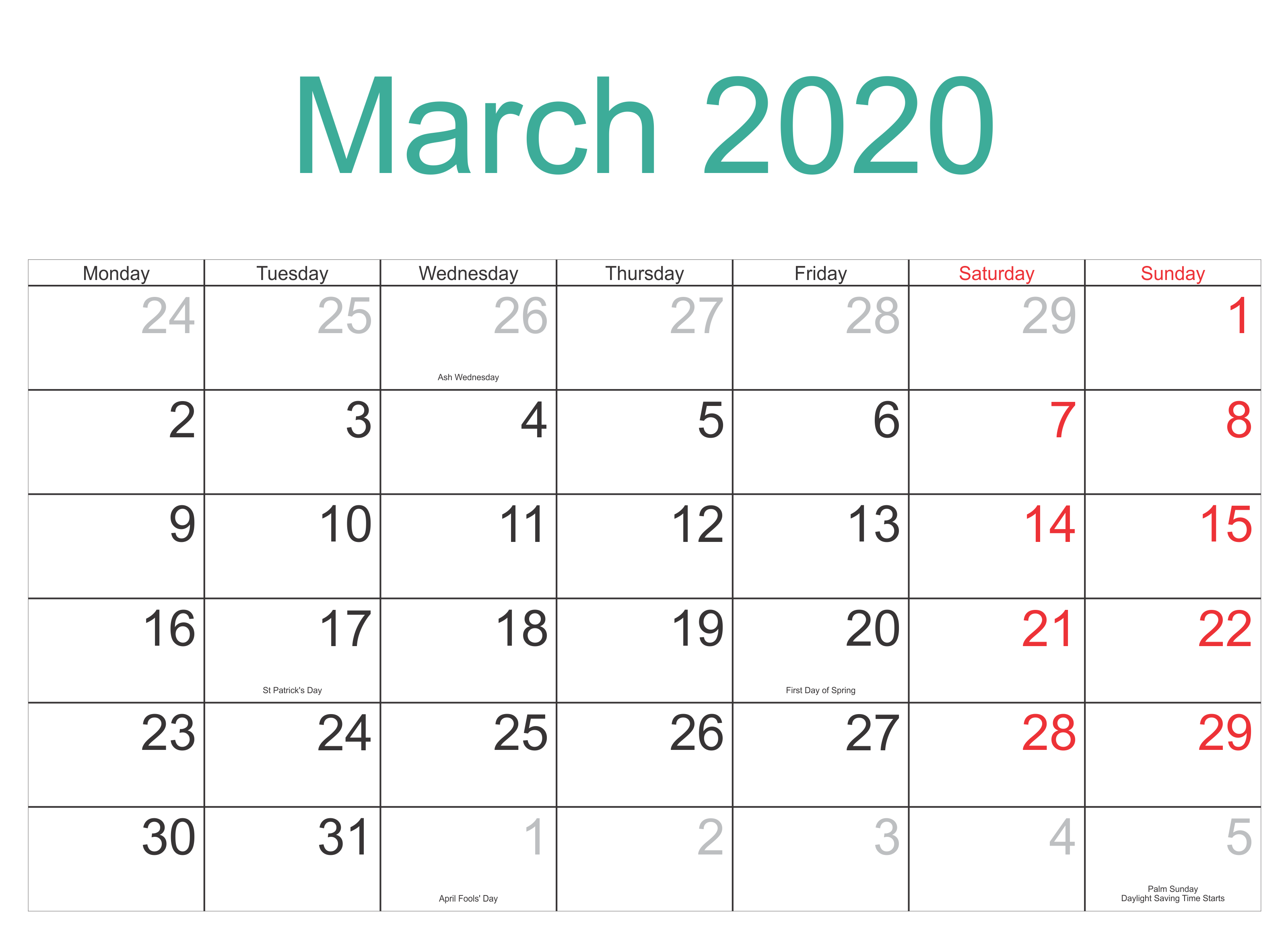 March 2020 Calendar With Holidays UK Canada USA