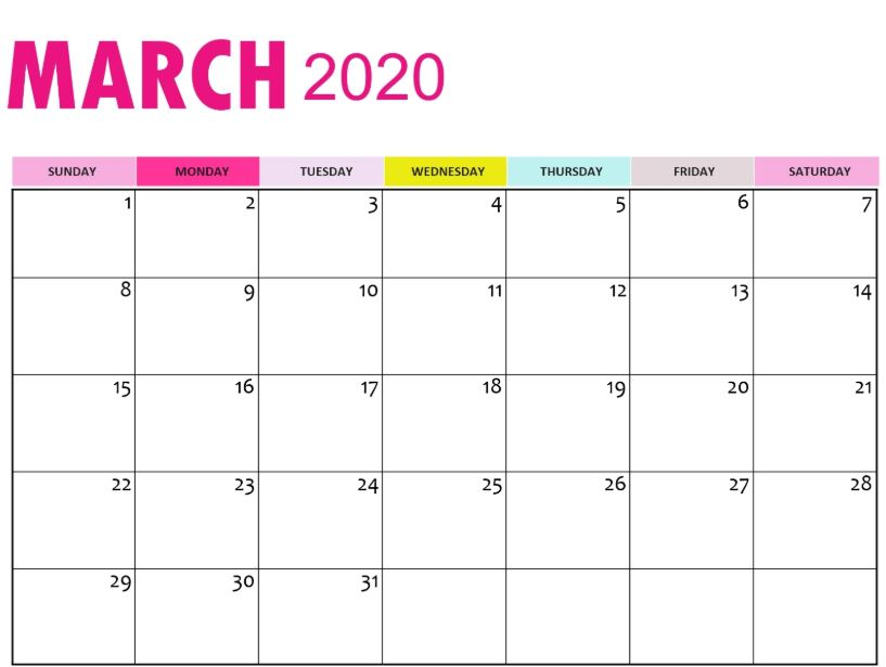 March 2020 Wall Calendar