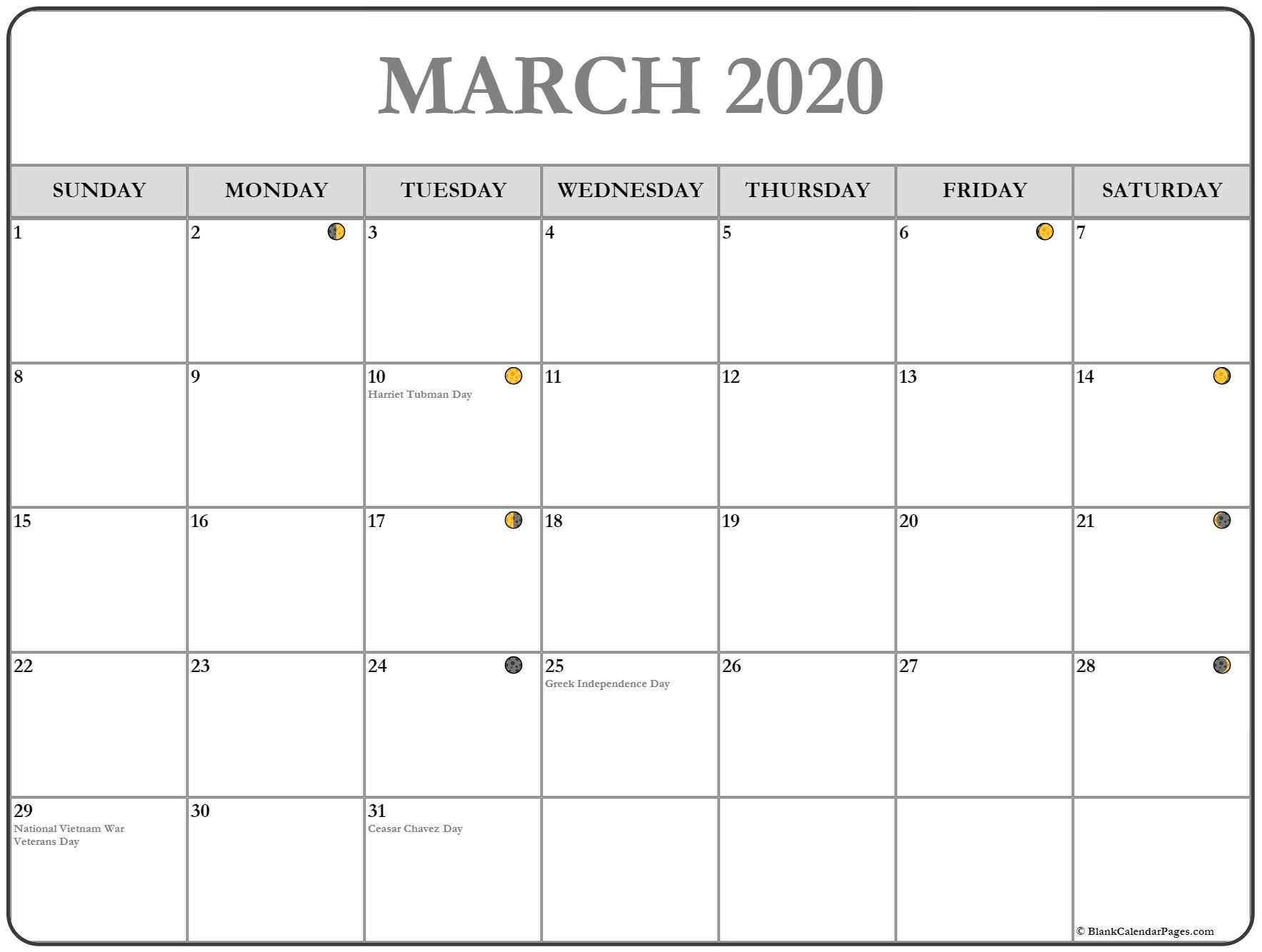 March Moon Calendar 2020 Template