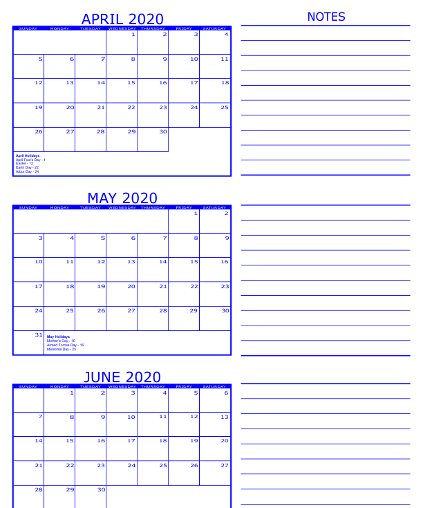 3 Month Calendar 2020 April May June