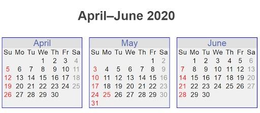 April-June 2020 Calendar