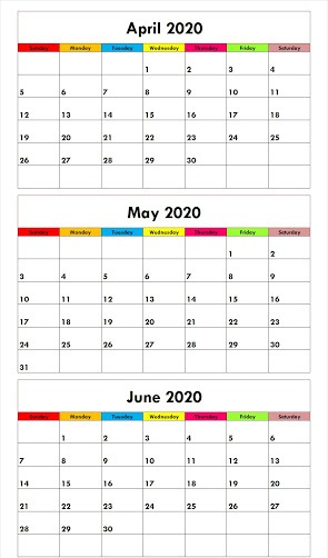 April May June 2020 Calendar with Color