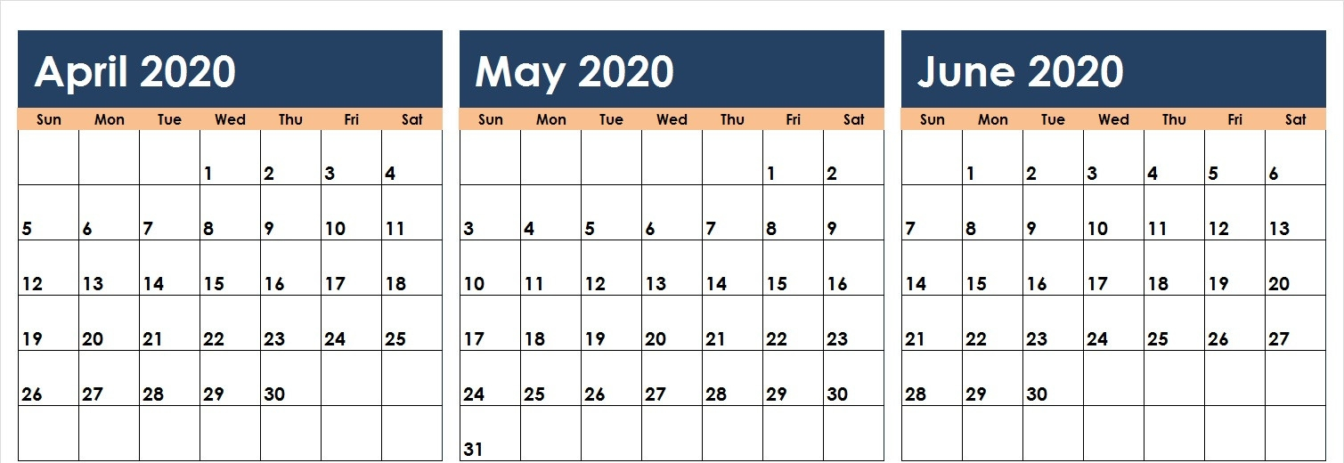 April May June 2020 Calendar Printable Template