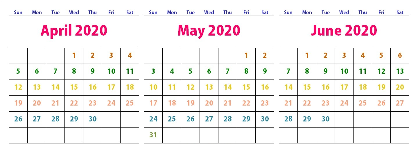 April May June 2020 Calendar Cute Template