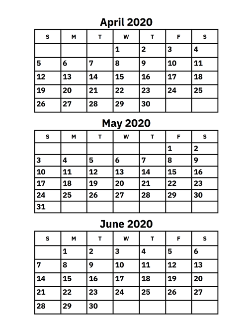 April May June Calendar 2020
