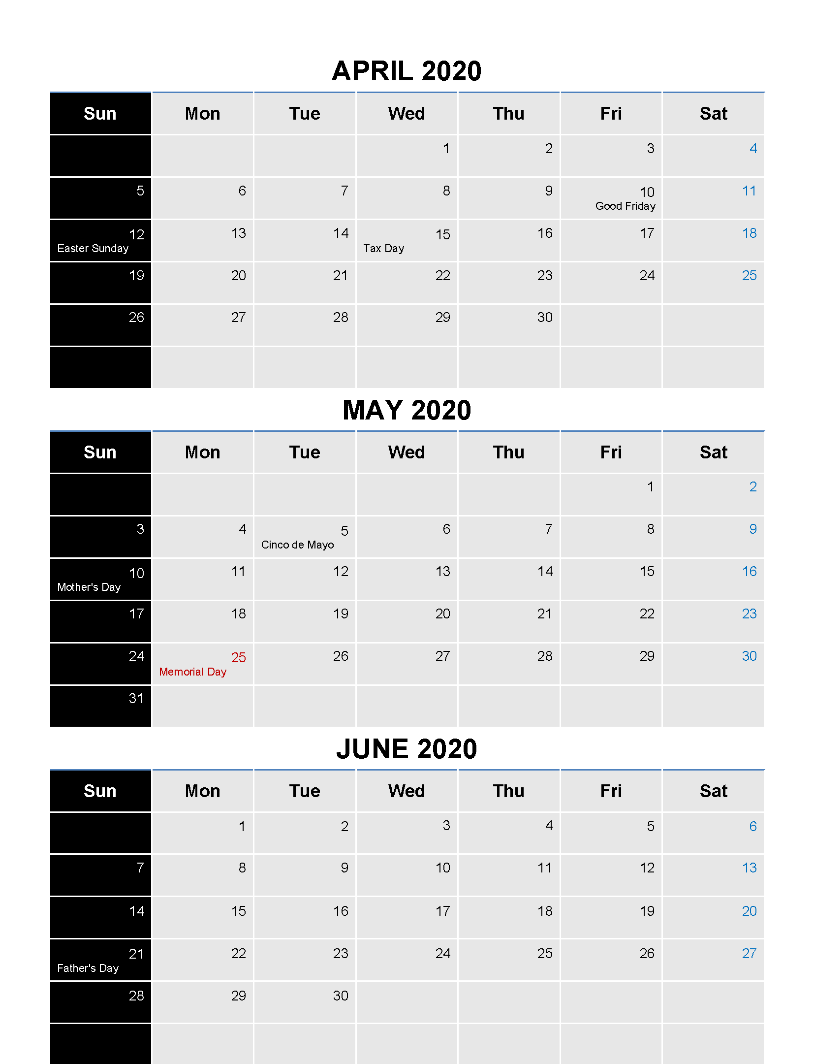 April to June 2020 Calendar