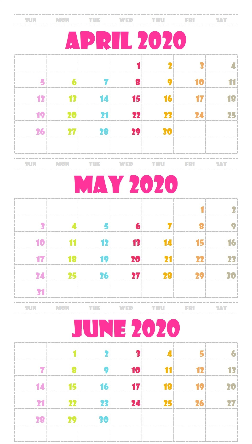 3 Month April May June 2020 Calendar Green