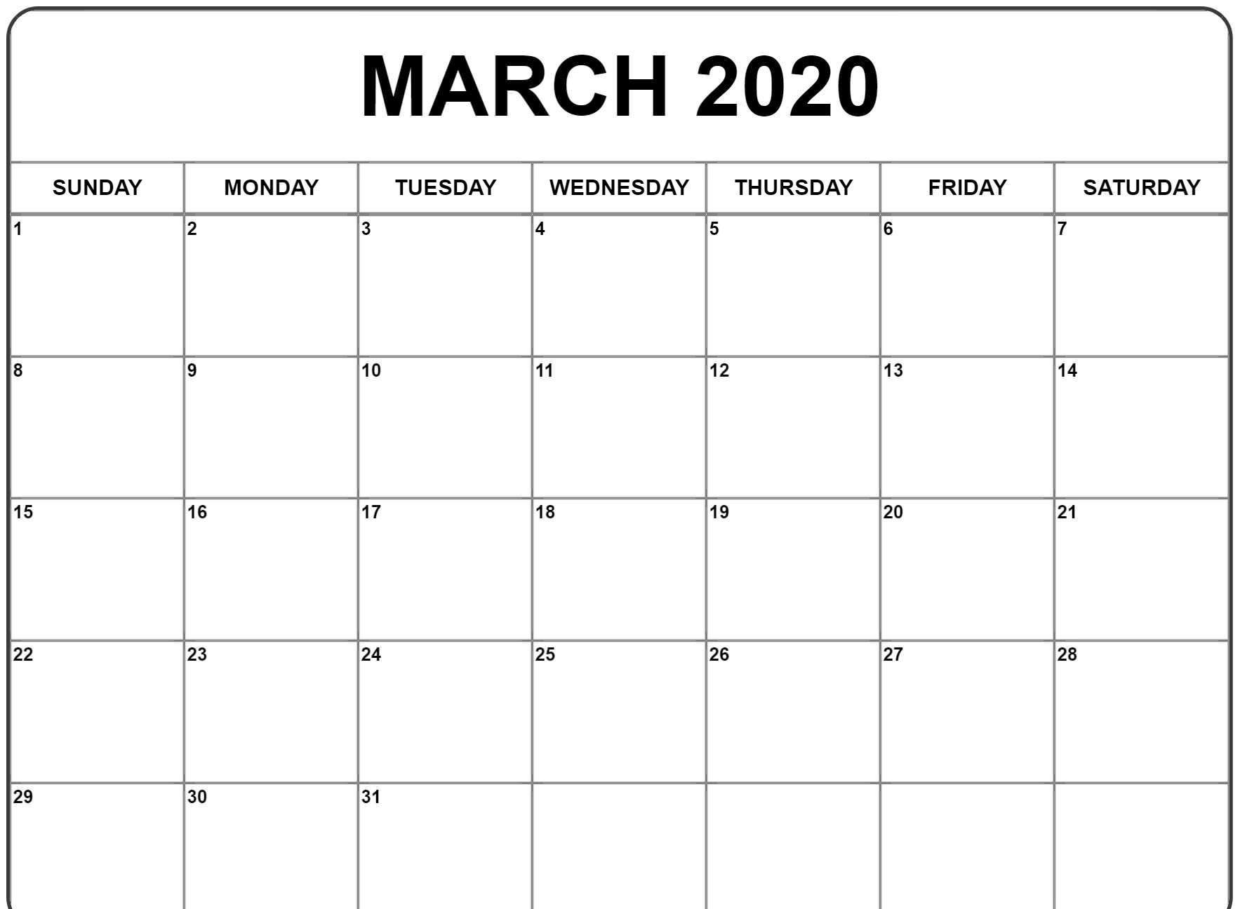 Free March 2020 Calendar Template