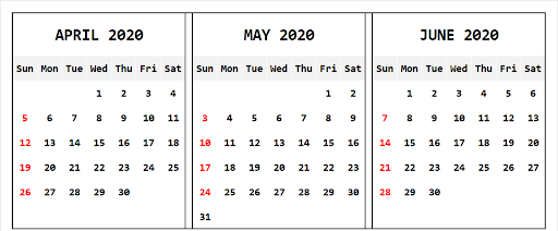 Free Printable April May June 2020 Calendar