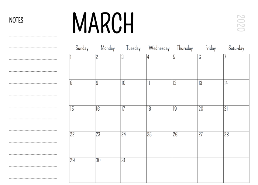 March 2020 Holiday Calendar Template with Notes