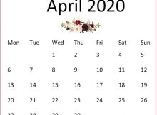 Cute April 2020 Wall Calendar