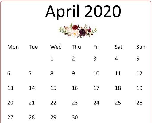 Cute April 2020 Wall Calendar