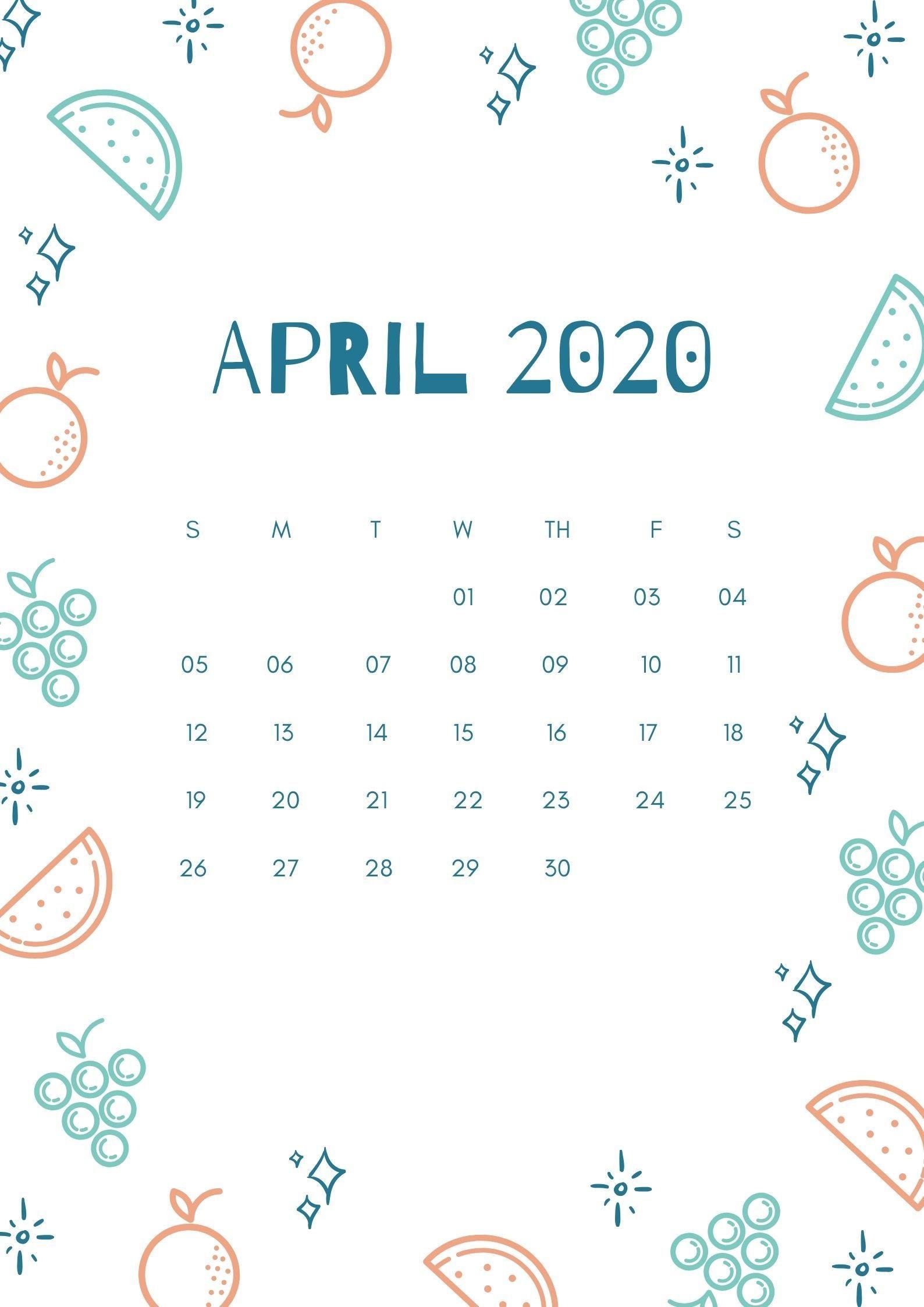 Cute April 2020 iPhone Calendar