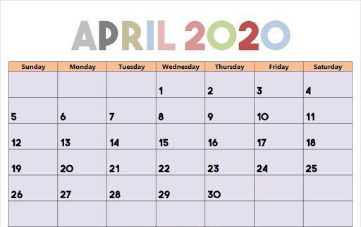 Free April 2020 Calendar Colorful Template