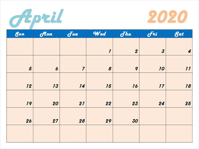 Free April 2020 Calendar Floral