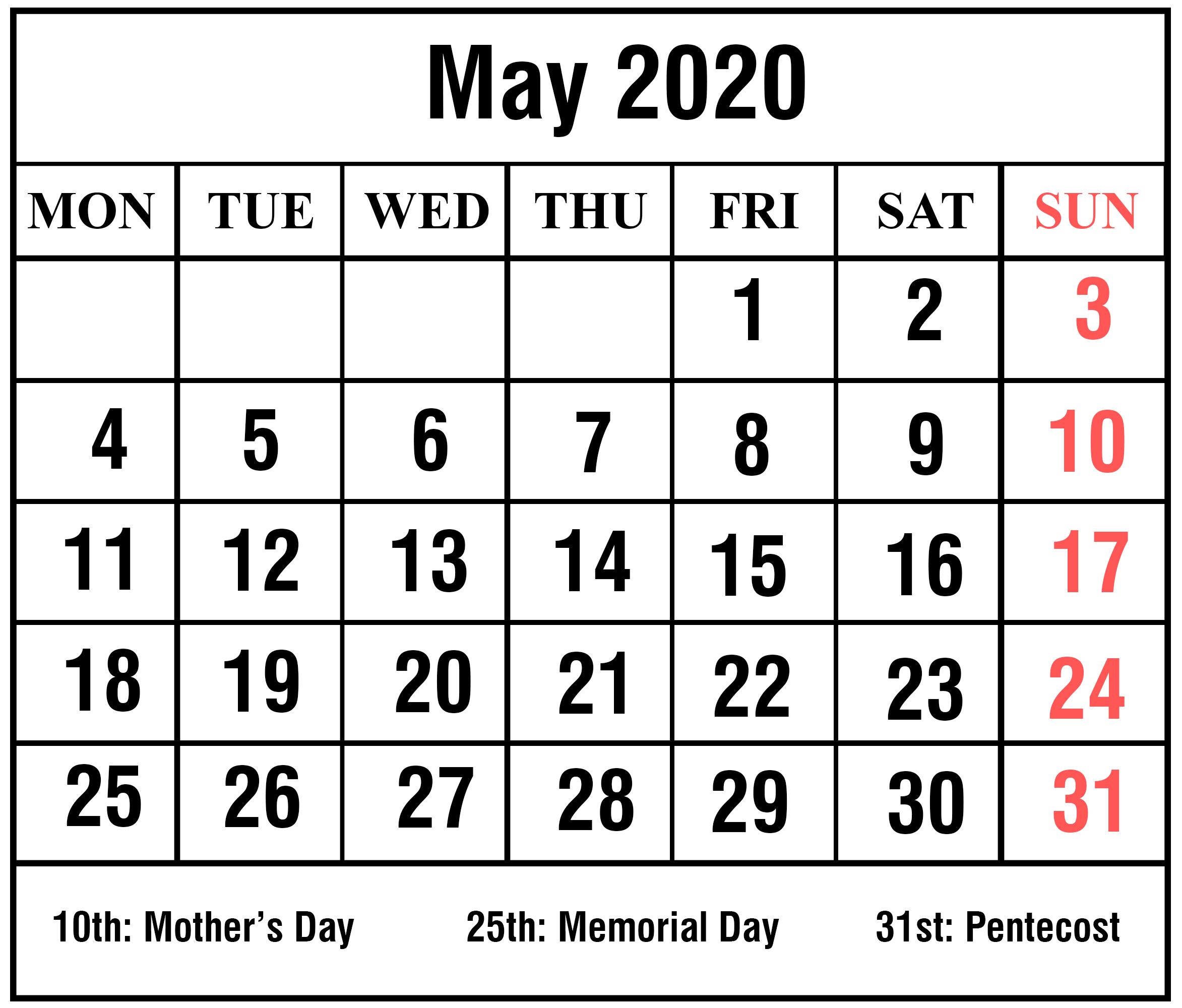 Blank May Calendar 2020 Printable Template