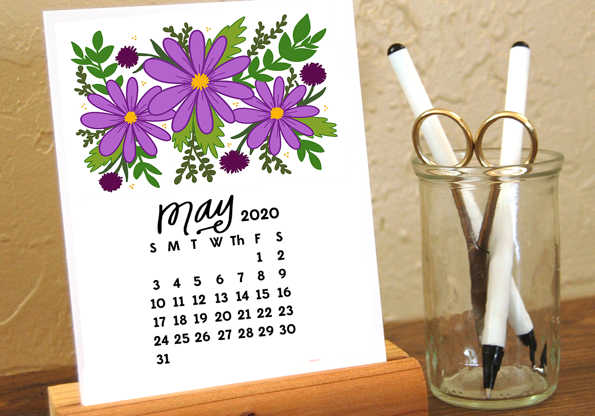 Cute May 2020 Desk Calendar