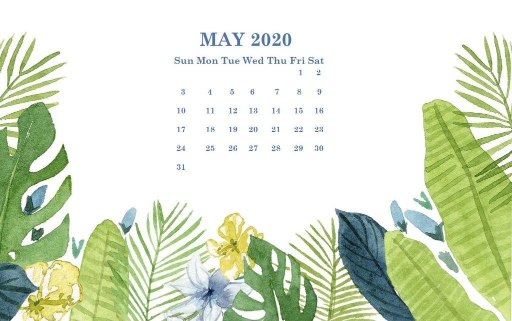 Cute May 2020 Desktop Wallpaper Calendar