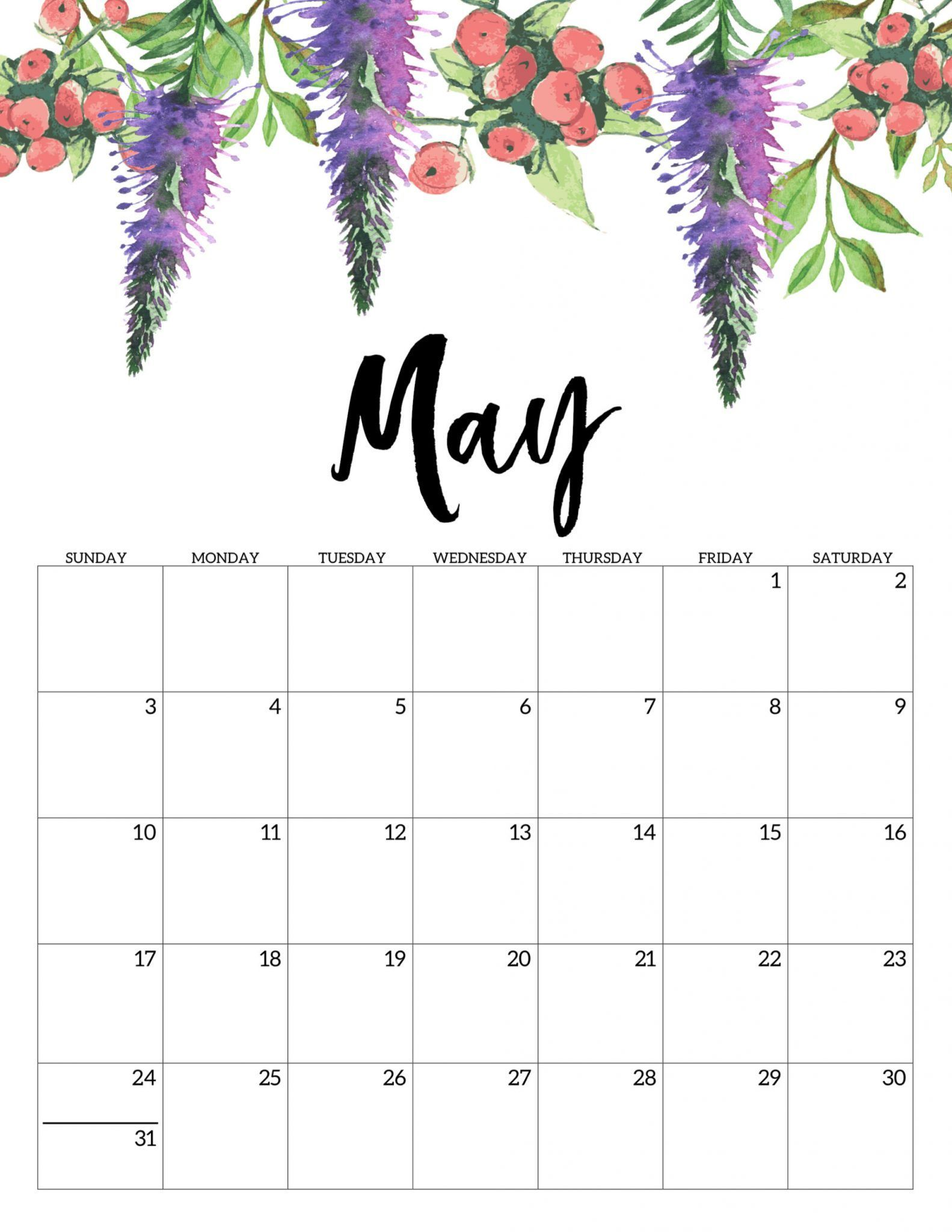 Cute May 2020 Wall Calendar