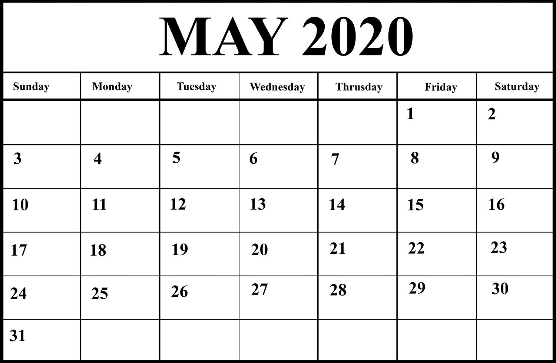 Editable May 2020 Calendar Word